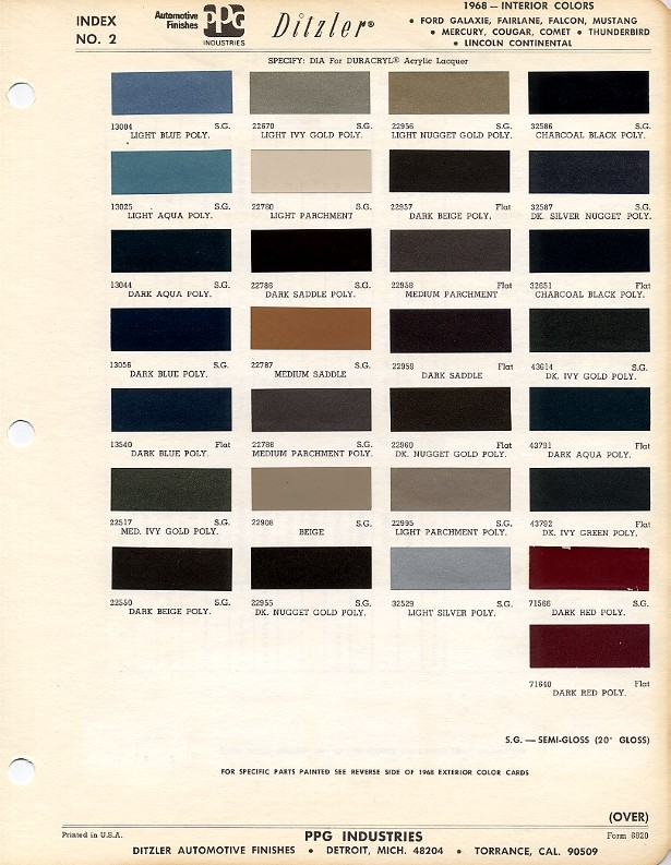 1968 mustang interior paint color chart and paint code Ford Interior Color Chart