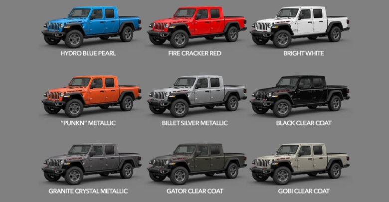 2020 gladiator colors availability dates start of Jeep Gladiator Color Options
