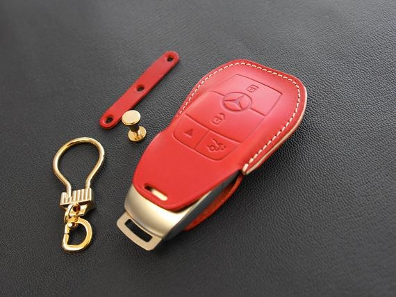 mercedes benz key fob cover for e class s class w213 italian veg tanned leather 4 buttons 7 colors Mercedes Key Fob Cover