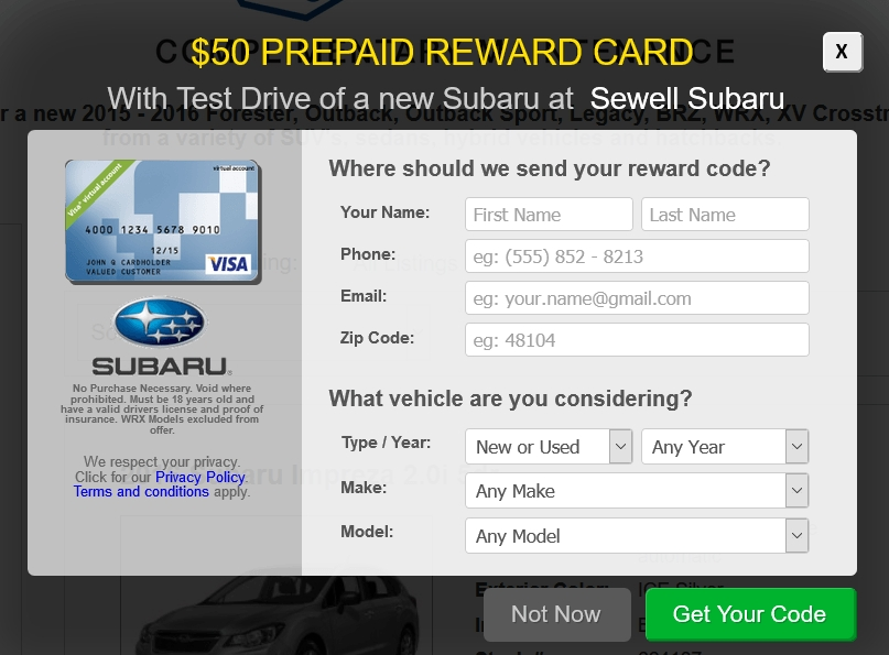 subaru test drive free 50 visa prepaid gift card promotion Subaru Test Drive Offer