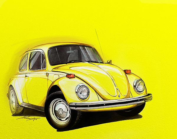 volkswagen beetle vw yellow greeting card Volkswagen Beetle Yellow