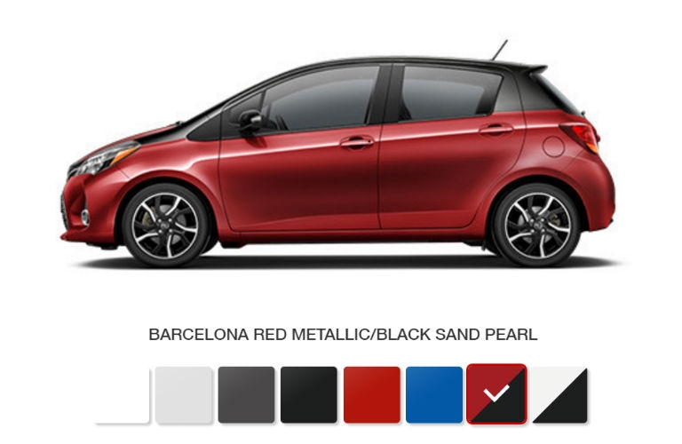what are the color options and trim levels offered for the Toyota Yaris Hatchback Colors