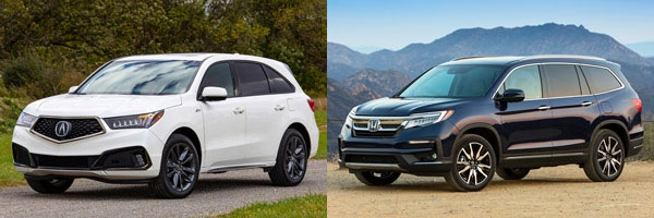 2019 acura mdx vs 2019 honda pilot whats the difference Honda Pilot Vs Acura Mdx