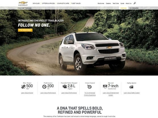 chevrolet india adds trailblazer to its official website Chevrolet Official Website