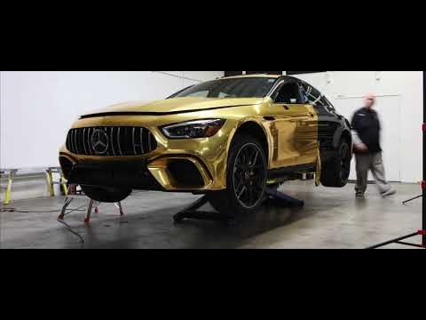 mercedes amg gt 4 door gets wrapped in gold for the oscars Mercedes Oscar Commercial