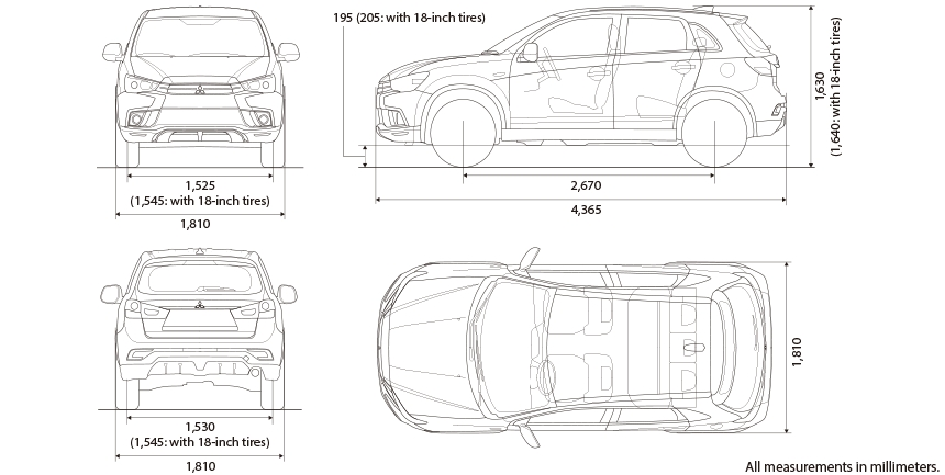 specifications asx mitsubishi motors Mitsubishi Asx Dimensions