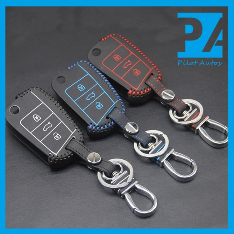 volkswagen vw leather car key fob cover pilotautos Volkswagen Key Fob Cover