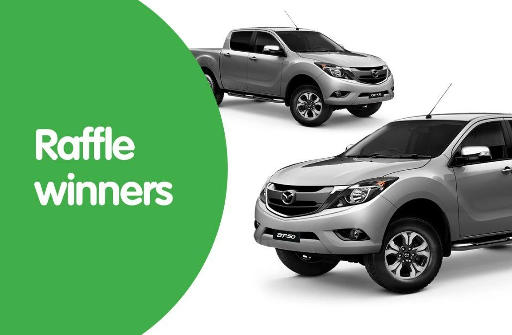 winners of the win a mazda bt 50 raffle childrens Woolworths Mazda Raffle