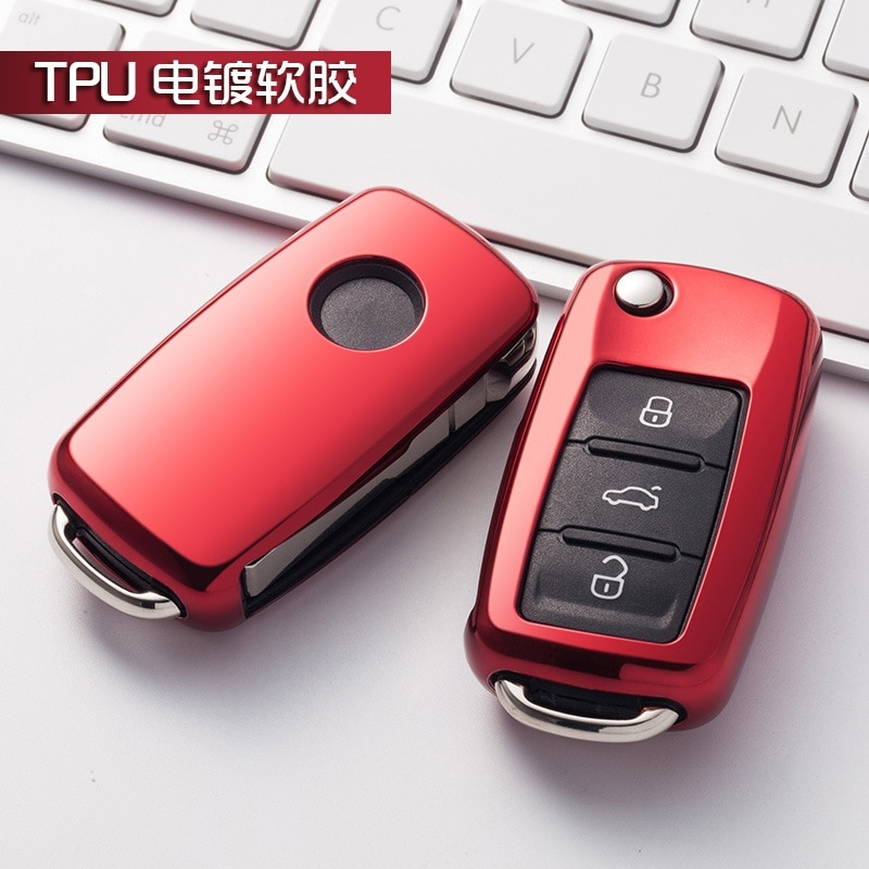 us 194 35 offnew gift tpu solf case bright plating key cover for vw jetta golf passat beetle polo bora 2 3 button flip key accessories in key Volkswagen Jetta Key Cover