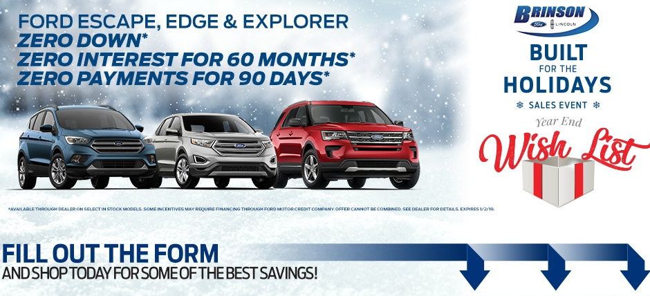 brinson ford holiday sales event Ford Zero Down Payment Offer