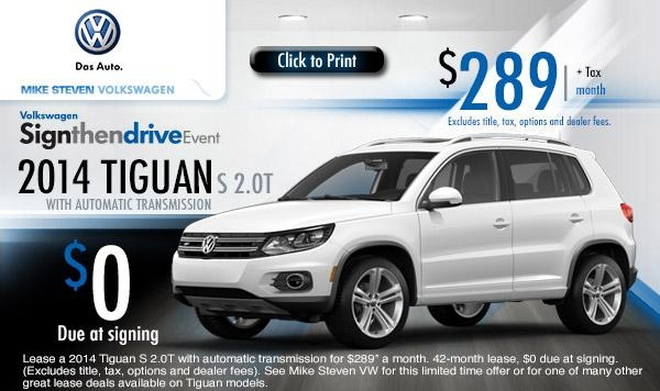 new 2014 volkswagen tiguan low payment lease specials Volkswagen Lease Deals