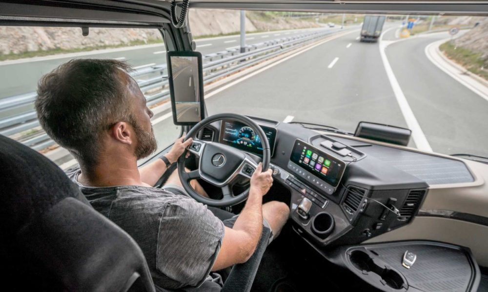 new mercedes actros is more efficient replaces mirrors with Mercedes Truck Interior