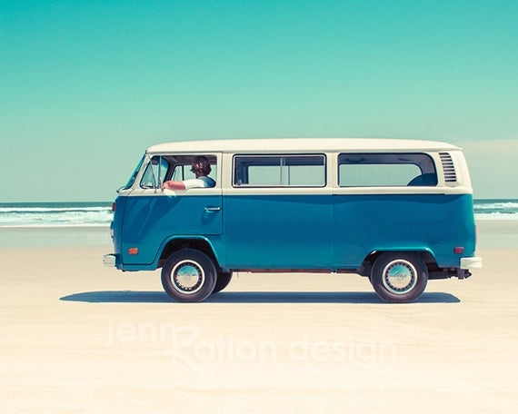 volkswagen bus vw bus car photography volkswagen van beach photography vanagon beetle bug aquaphoto print Volkswagen Van Pictures